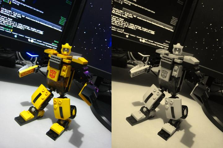 Picture side by side of a toy in color and sepiia
